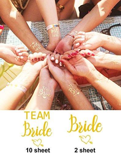 Innobase addio al nubilato bride team tatuaggi temporanei impermeabile nubilato temporary tattoos festa gadget per bridal shower, hen party, feste notte, doccia nuziale(set of 12)