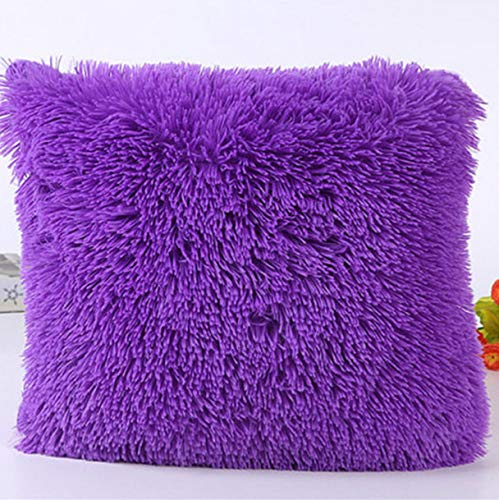 ion Cashmere Pillowcase Short Plush Cover Popular Square Plush Furry Pillowcase Cover Home Bed Room Decoration A ()