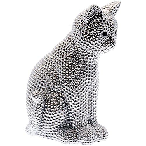 DonRegaloWeb - Figura de un gato sentado de resina decorado en color plateado