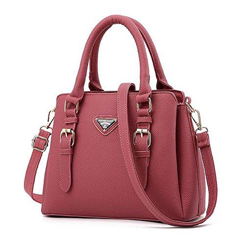 Toopot PU-Leder Frauen Schultertaschen Handtasche Tote Geldbörse Tasche Mode Umhängetasche RUBBER PINK
