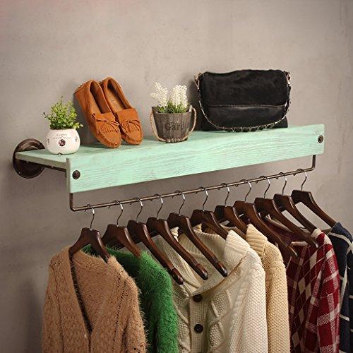 SH-qiang Garderoben Bekleidungsgeschäft Kleidung Massivholz-Display-Ständer Retro-Eisen Wand montiert Side-Mounted Hanging Racks Regale Racks Wandgarderobe (Größe : 100cm)