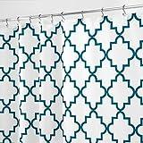 mDesign Duschvorhang Anti-Schimmel - Dusch- & Badewannenvorhang mit Gitter-Muster - Duschvorhang wasserabweisend - 12 verstärkte Löcher für einfache Aufhängung - smaragdgrün