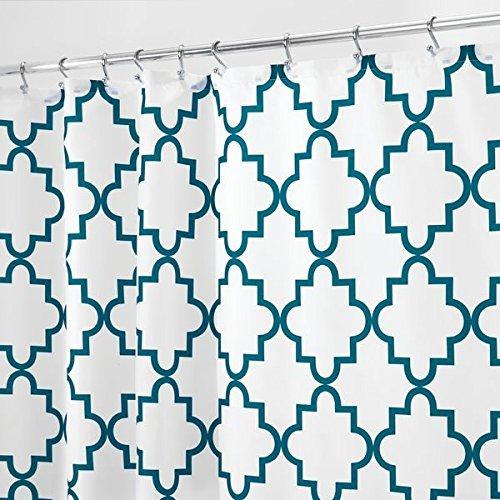 mDesign Duschvorhang Anti-Schimmel - Dusch- & Badewannenvorhang mit Gitter-Muster - Duschvorhang wasserabweisend - 12 verstärkte Löcher für einfache Aufhängung - smaragdgrün (Gitter-duschvorhang)
