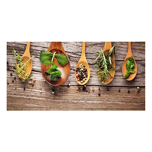 Bilderwelten Panel antisalpicaduras de cristal - Herbs And Spices - Horizontal 1:2, panel antisalpicaduras panel de vidrio para cocina protector contra salpicaduras, Tamaño: 40cm x 80cm
