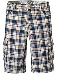 Vertvie Homme Cargo Short de Loisir Travail Casual à Carreaux Bermuda Pantalon  Court Plage Multi Poches bb631e40457
