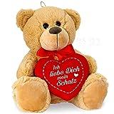 matches21 Teddybär mit Herz / Herzteddy ** Ich Liebe Dich Mein Schatz ** 25 cm Hellbraun - DIE Geschenkidee!