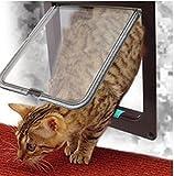 JYSPORT 4-Wege Freilauftür mit Tunnel-Haustierklappe Katzenklappe Tür Katze Loch Hund Öffnungen die Richtung steuern kann (M, Brown)