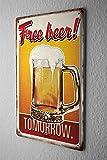 Pit Hammann Birra Decorazione Nostalgica Cartello Targa In Metallo Birra gratis Domani Piatto Da Muro 20X30 cm