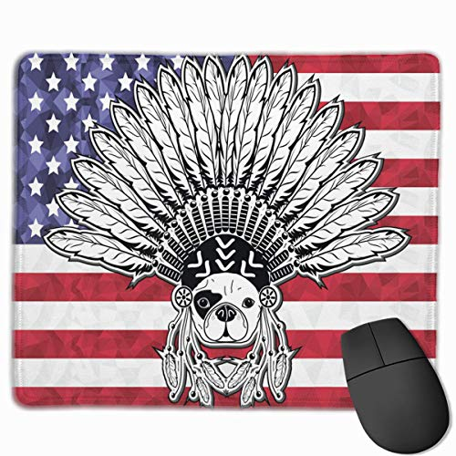 French Native American Flag with Bull Dog Non-Slip Rubber Mouse Mat Mouse Pad for Desktops, Computer, PC and Laptops 9.8 X 11.8 inch (25x30cm) -