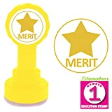 Merit Star - Gold ink, Self-inking Teacher Stamp. Reinkable. 22mm Xclamations