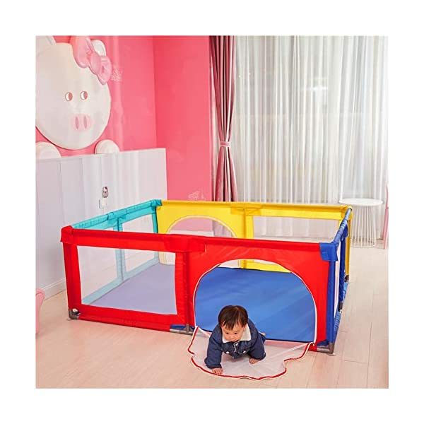 Playpen Big Bed Anti-drop Baffle for Infants, Baby Indoor Outdoor, Kid's Safety Activity Center, 180x190x70cm (color : Multicolor) Playpen  4