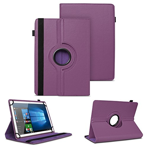 NAUC XORO PAD 9W4 PRO Universal Tablet Schutzhülle hochwertiges Kunst-Leder Hülle Tasche Standfunktion 360° Drehbar Cover Case, Farben:Lila