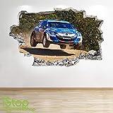 1Stop Graphics Shop Voiture de Rallye Autocollant Mural 3D Look - garçons Chambre d'enfant Extreme Sport Autocollant Mural Z193 - Medium: 60 cm x 90 cm
