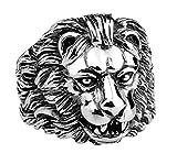 Adisaer Edelstahl Ring Herren SchwarzMännliche Löwen Kopf Ring Für Männer Punk Ringe Größe 57 (18.1)