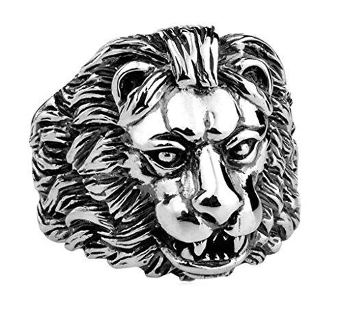 Adisaer Edelstahl Ring Herren SchwarzMännliche Löwen Kopf Ring Für Männer Punk Ringe Größe 60 (19.1)