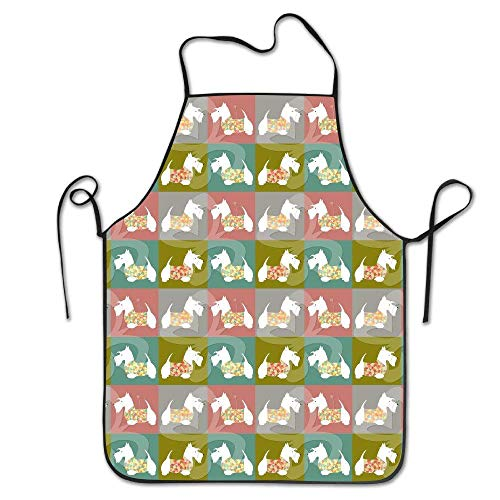 vcbndfcjnd Geometric Scottish Terrier with Colorful Sweater Unisex Cooking Kitchen Aprons Chef Apron Bib Scottish Terrier Sweatshirt