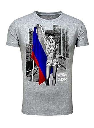 T-Shirt Herren Männer Fan Printshirt Fußball Europameisterschaft 2016 Girl Sexy Russia Russland