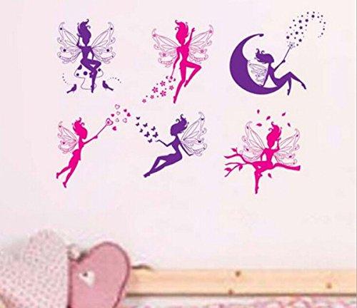 Wohnzimmer Schlafzimmer Dekoration Schmetterling Wand Aufkleber Magic Fairy strahlende Blume Herz Girlande rosa Kleid Dienstmädchen Wandtattoo für Mädchen Zimmer der Dekoration 18 (Kleid Floral Holiday Christmas)