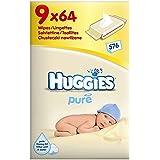 Huggies Lingettes bébé Pure (64 par paquet x 9) - Paquet de 6