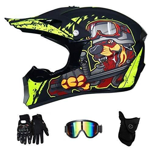Motorradhelm, Motorrad Motocross Motorradhelme & Windschutzmaske & Handschuhe & SCHUTZBRILLE D.O.T Standard Kinder Quad Bike ATV Go-Kart-Helm Fox (S, M, L, XL),S55~56CM
