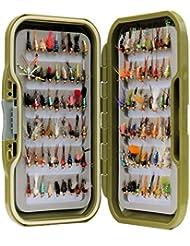 Vert étanche Fly Box Inc mixtes assorties Doré Tête Nymphe truite Pêche mouches–Taille de 8, 10, 12, 14, 16ou 18, Lot de 10, 25, 50, 100