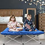 Kurtzy Portable Foldable Toddler Camping Cot Bed with Fitted Sheet for Kids Children