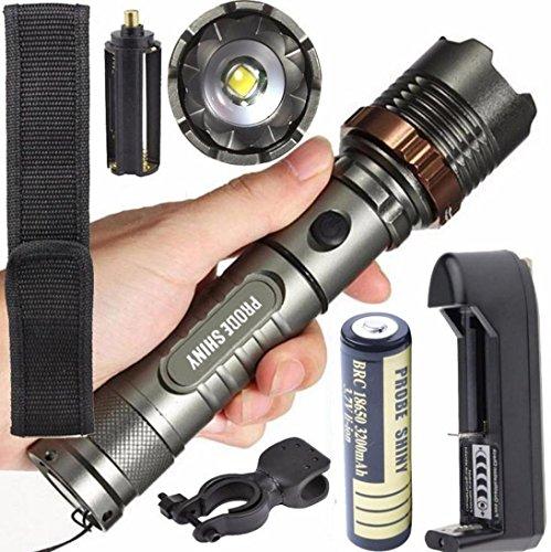 FORTAN Taschenlampe Taktik 5000 lm XM-L T6,LED, zoombare Taschenlampe + Akku + Ladegerät