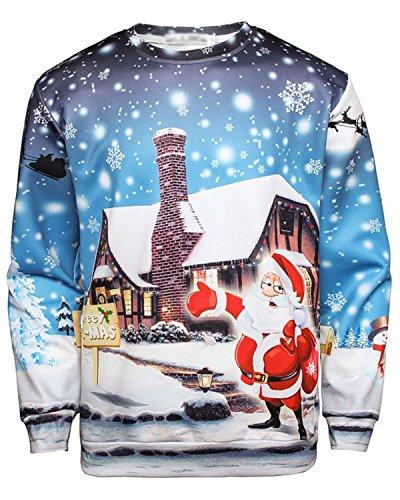 JOLIME Herren Unsiex 3D Druck Weihnachten Pullover Sweatshirt Christmas Jumper Langarmshirt 32