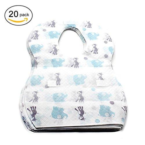 Baberos desechables 20PCS Baberos desechables del bebé y del bebé disponibles del viaje Babero impermeable del arrancador