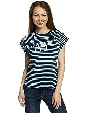 oodji Ultra Mujer Camiseta de Punto con Estampado y Borde Inferior No Elaborado