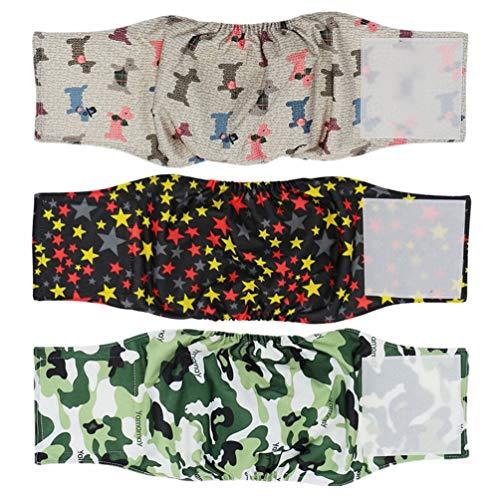 Hanyi 3 Stück Waschbare & Wiederverwendbare Hundewindeln Physiologische Hosen Bauchband für Männliche Hunde (L(Taillenumfang:45-54cm))