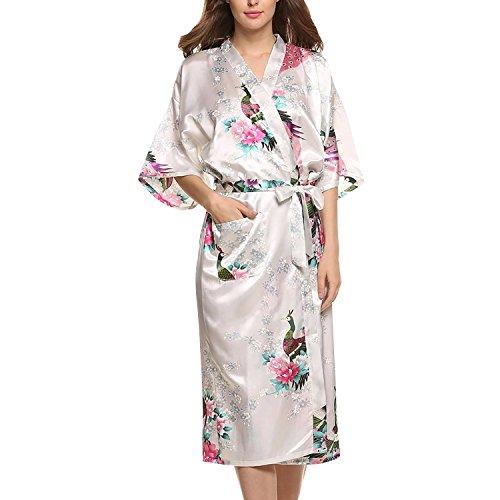 Asskyus Traje de Kimono de Robe Largo del sueño de Las Mujeres, Albornoz del Pavo...