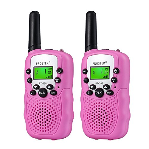 Proster 2PZ Walkie Talkie Due-Via Radio Funzione VOX - UHF 446MHz 8 Canali Lunga Gamma Fino a 3KM con LCD Display Retroilluminato - Rosa
