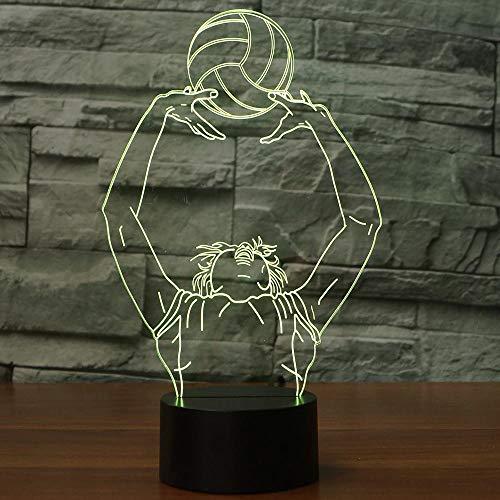 Home Schlafzimmer Beleuchtung Dekor 3D LED Nachtlichter 7 Farbwechsel Volleyball Wurf Modellierung Tischlampe Kinder Geburtstag Schlaf Geschenke, Fernbedienung