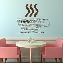 Tipos de café Cita Alimentos y bebestibles vinilos decorativos Cocina decoración art pegatinas disponible en 5 tamaños y 25 colores X-Grande Cuero marrón