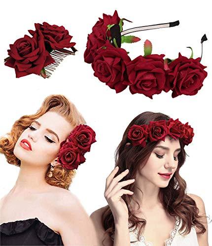 Milacolato Rose Blume Krone Hochzeit Festival Stirnband Haar Garland Hochzeit Kopfschmuck