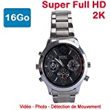 Cyber Express Electronics - montre mini caméra espion 16 Go 2K Super Full HD 2304 x 1296p Détection de Mouvement CEL-DWF-74S-16
