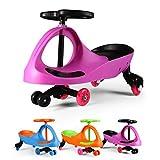 Fascol Bobbycar lenkrad Kinder Car Auto Antrieb durch Lenkbewegung für Kinder von 3 bis 8 Jahre mit leuchtende Flüsterrädern,Rosa