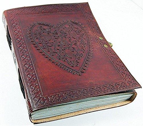 honey leather exporters journal cahier en cuir vintage cœur en relief journal cahier copte relié avec fermeture à verrou
