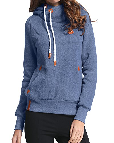StyleDome Winter Damen Hoodies Pullover Langarm Jacke Top Sweatshirt Pullover Tops Jumper Blau333850 XL