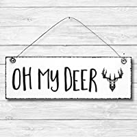 Oh my Deer - Hirsch Dekoschild Türschild Wandschild Holz Deko Schild 10x30cm Holzdeko Holzbild Deko Schild Geschenk Mitbringsel Geburtstag Hochzeit Weihnachten