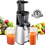Aicok Slow Masticating juicer, Juice Extractor with 150W Quite Motor for High Nutrient Fruit and Vegetable Juice, Frozen Desserts, Include Juice Jug and Cleaning Brush, Silver