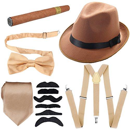 KaKaxi Herren 1920S Zubehör Hartfilz Panamahut, Y-Back Strapse & Pre gebunden Fliege, Krawatte, Spielzeug Cigar & Fälschungs-Schnurrbart Einheitsgröße Champagner