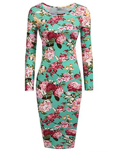 HOTOUCH Damen Etuikleid Vintage Kleid CocktailkleidMidikleid Bleistift Kleid Rockabilly Kleid Festliche Bodycon Enges Kleid mit Blumendruck