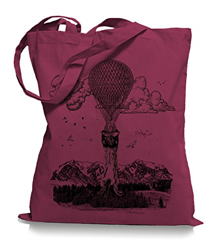 Ma2ca® Palloncino Gatto Gatto Stoffa Borsa Shopping Bag Portaborsa / Borsa Wm101 Mirtillo