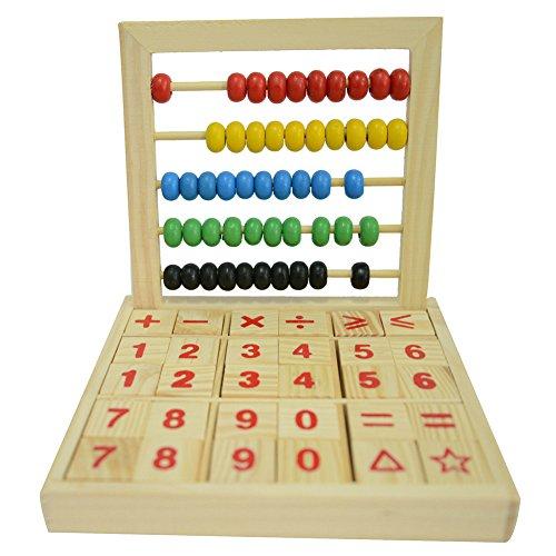 HugeStore Kinder Hölzern Rechenrahmen Abacus Zählrahmen mit Bunten Perlen Mathematik Spielzeug