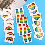 Tacobear Tacobear 24pcs Gay Pride Regenbogen Aufkleber Temporäre Tattoos Regenbogen Flagge Aufkleber Abnehmbare Wasserdichte Körper Regenbogen Temporäre Tattoos (Heart-Shaped)