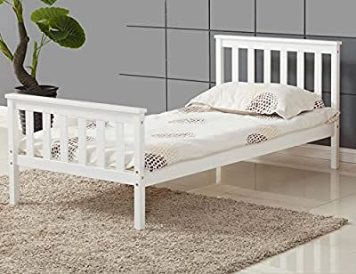 Vivo © Single Bed in White 3ft Single Bed Wooden Frame White Pine Wood Bedroom - low-cost UK light store.