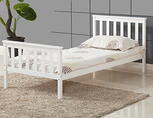 Vivo Single Bed in White 3ft Single Bed Wooden Frame White Pine Wood Bedroom