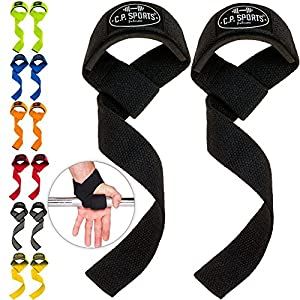 C.P. Sports Zughilfen (gepolstert) 60cm für Fitness, Bodybuilding und Krafttraining – für Frauen und Männer – 2 Jahre Gewährleistung